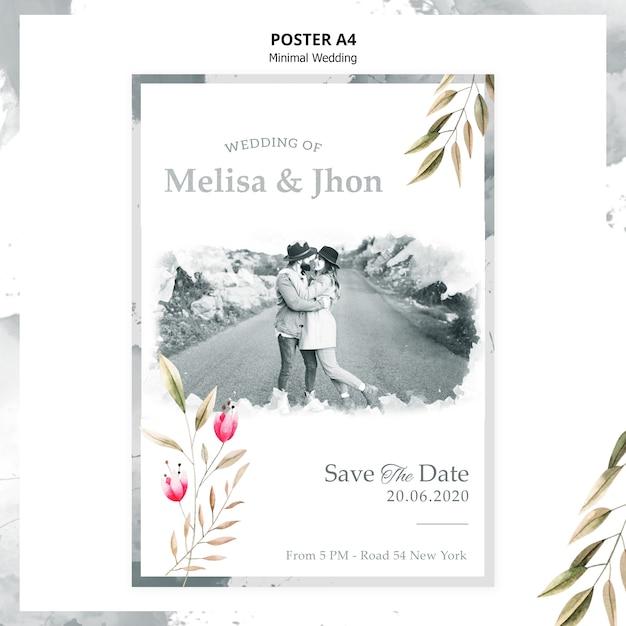 Affiche D'invitation De Mariage Magnifique Psd gratuit