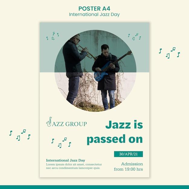 Affiche De La Journée Internationale Du Jazz Psd gratuit