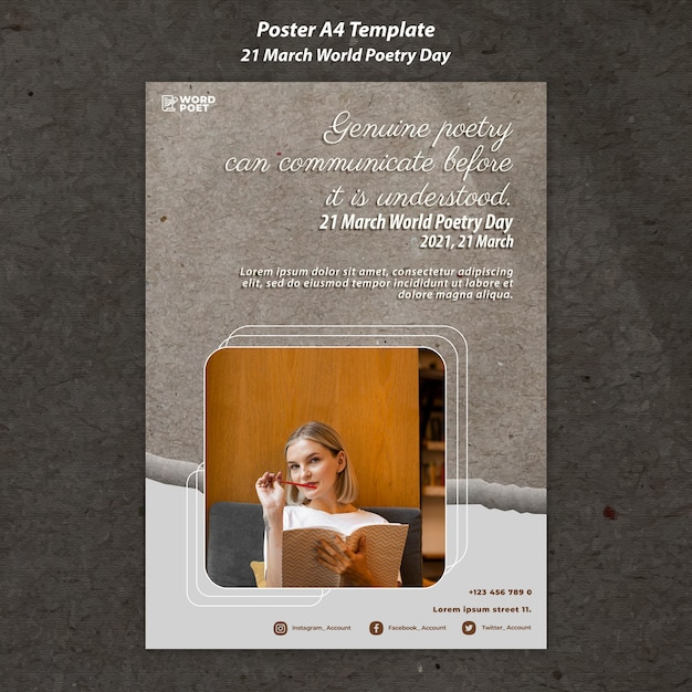 Affiche De La Journée Mondiale De La Poésie PSD Premium