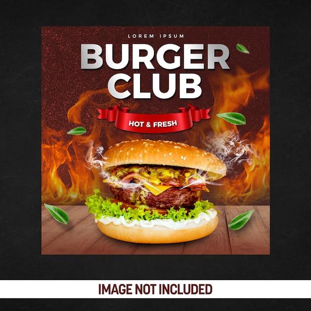 Affiche de médias sociaux de fête de club de burger PSD Premium