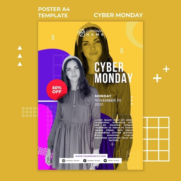 Affiche De Modèle D'annonce Cyber Monday Psd gratuit