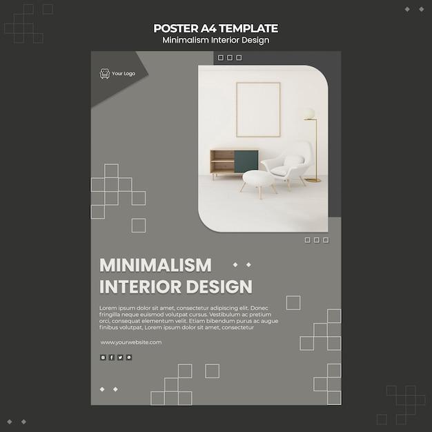 Affiche De Modèle De Design D'intérieur Minimaliste Psd gratuit