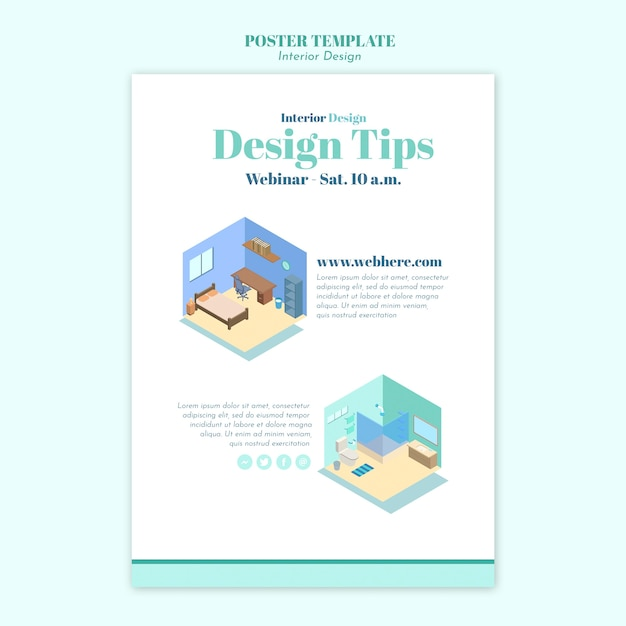 Affiche De Modèle De Design D'intérieur Psd gratuit