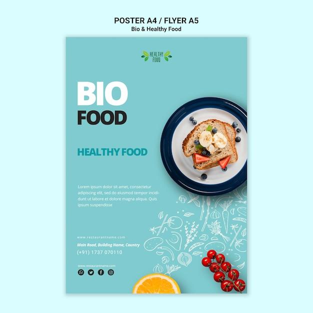 Affiche Avec Modèle De Nourriture Saine Et Bio Psd gratuit