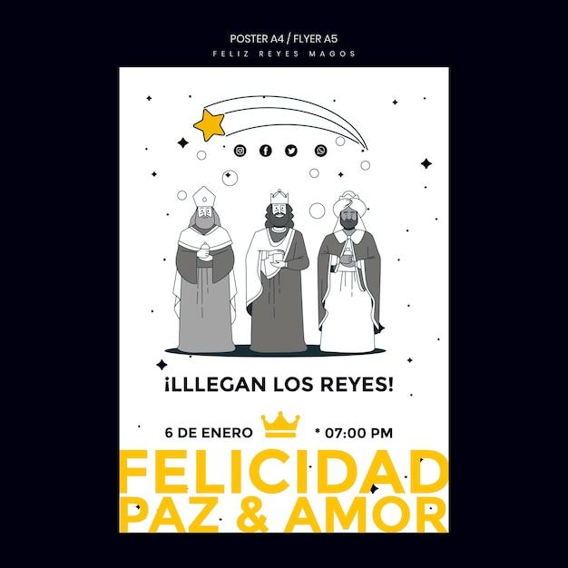 Affiche De Modèle De Reyes Magos Psd gratuit