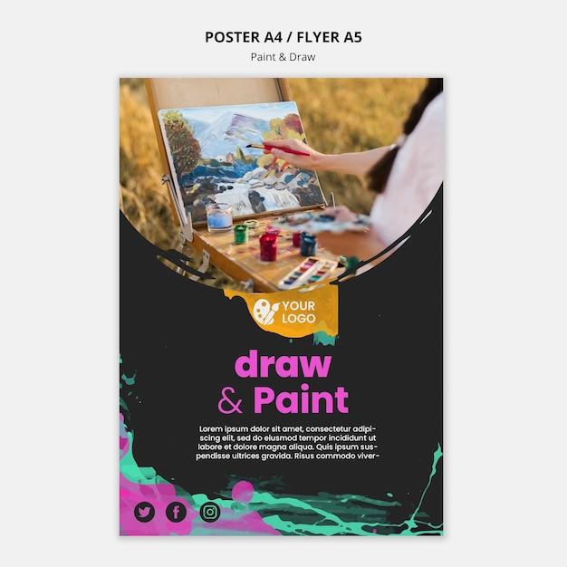 Affiche Pour Les Artistes Dessin Et Peinture Psd gratuit
