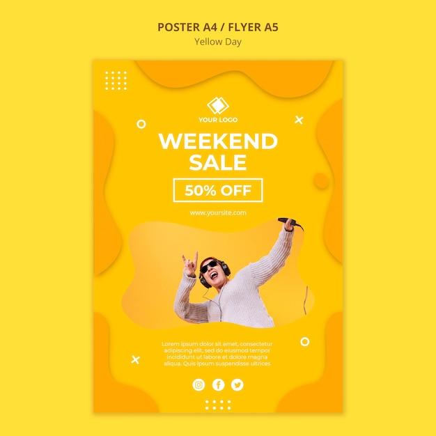 Affiche De Vente De Week-end De Jour Jaune Psd gratuit