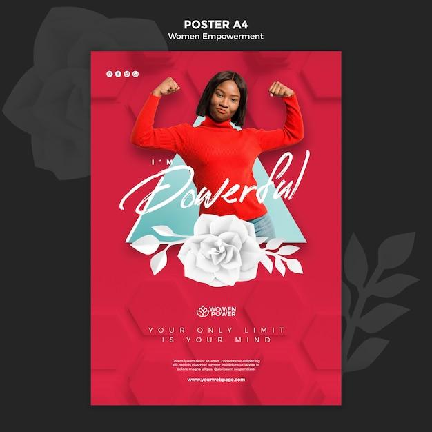 Affiche Verticale Pour L'autonomisation Des Femmes Avec Un Mot Encourageant Psd gratuit
