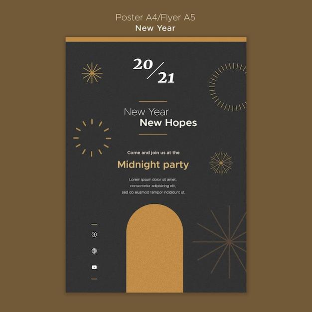 Affiche Verticale Pour La Fête Du Nouvel An à Minuit Psd gratuit