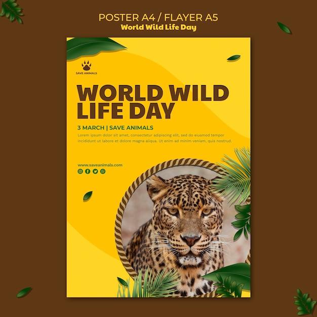 Affiche Verticale Pour La Journée Mondiale De La Faune Avec Animal Psd gratuit
