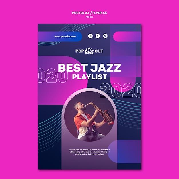 Affiche Verticale Pour La Musique Avec Un Joueur De Jazz Et Saxophone Psd gratuit