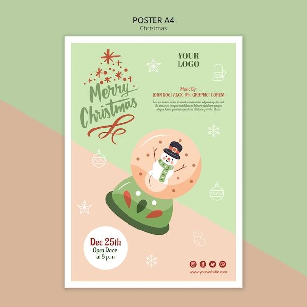 Affiche Verticale Pour Noël Avec Boule à Neige Psd gratuit