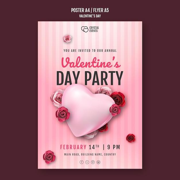 Affiche Verticale Pour La Saint-valentin Avec Coeur Et Roses Rouges Psd gratuit