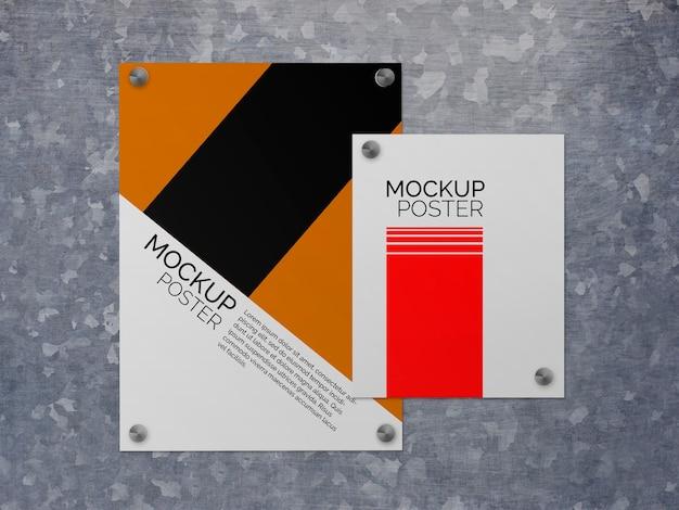 Affiches Sur Maquette De Surface En Acier Psd gratuit