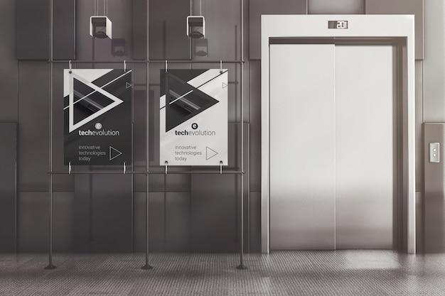Affiches publicitaires à cadre en métal dans la maquette du hall PSD Premium