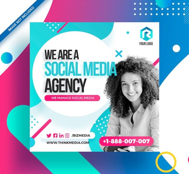 Agence De Médias Sociaux Square Post Instagram Banner PSD Premium