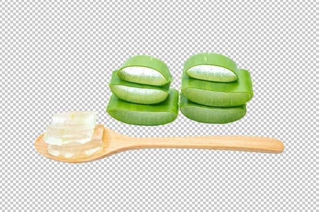 Aloe vera tranché sur une transparence isolée .herb PSD Premium