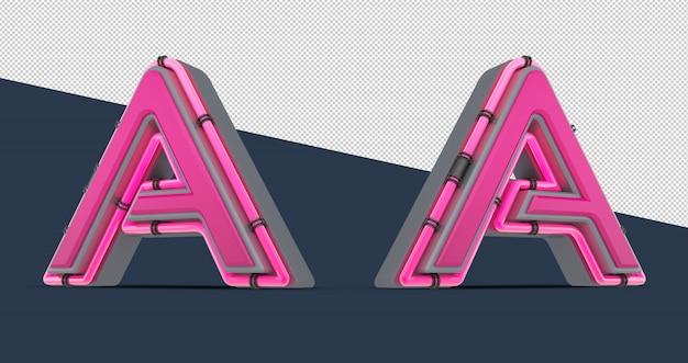 Alphabet Rose 3d Avec Néon PSD Premium