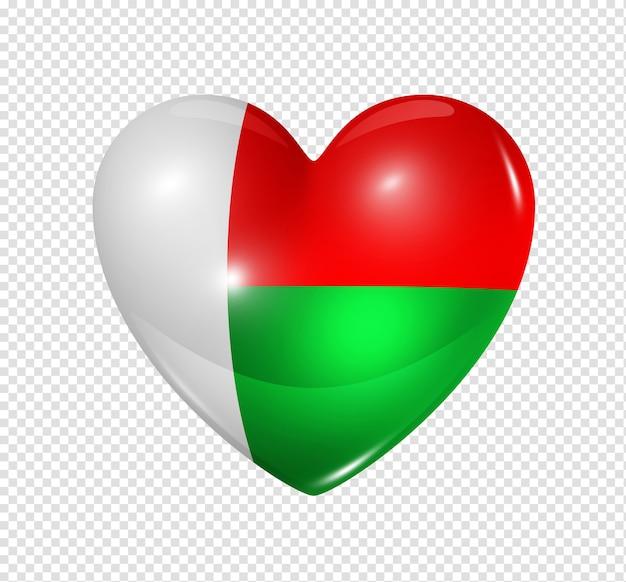 Amour Madagascar Symbole D'un Coeur 3d Avec Conception De Drapeau Isolé PSD Premium