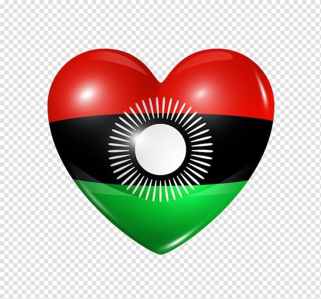 Amour Malawi Symbole D'un Coeur 3d Avec Conception De Drapeau Isolé PSD Premium