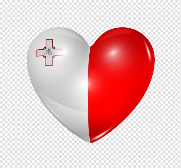 Amour Malte Symbole D'un Coeur 3d Avec Conception De Drapeau Isolé PSD Premium