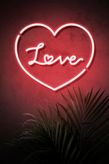 Amour néon Psd gratuit