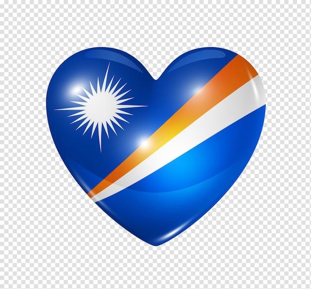 Amour Symbole Des îles Marshall D'un Coeur 3d Avec Conception De Drapeau Isolé PSD Premium