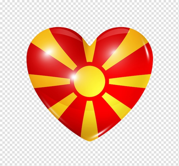 Amour Symbole De La Macédoine D'un Coeur 3d Avec Conception De Drapeau Isolé PSD Premium