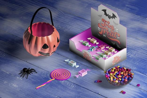 Angle élevé De Concept D'halloween Sur Une Table En Bois Psd gratuit