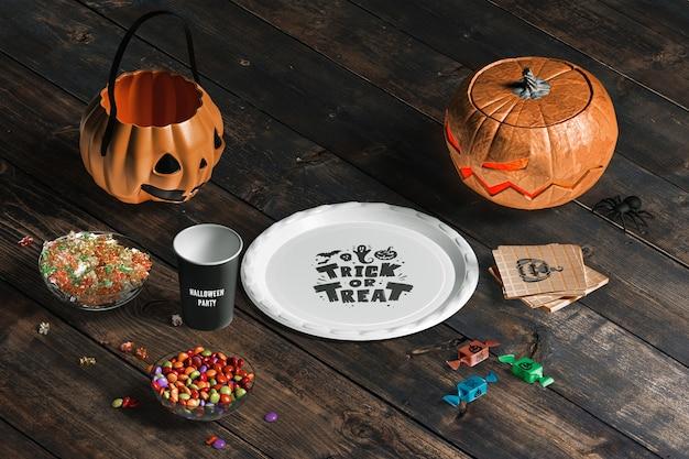 Angle élevé De Maquette Concept Halloween Psd gratuit