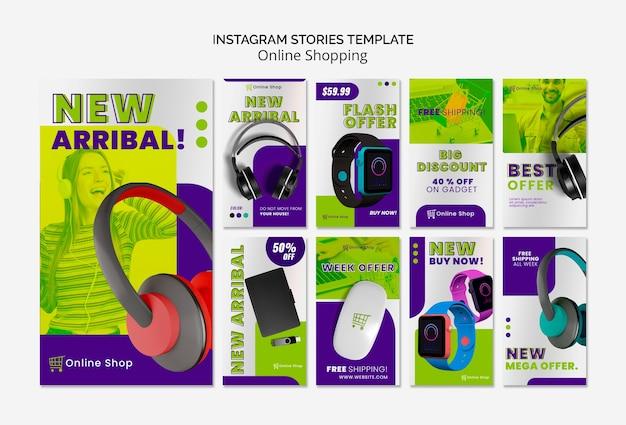 Appareils De Modèle D'histoires Instagram Achats En Ligne Psd gratuit