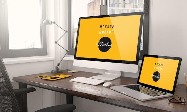 Appareils Avec Rendu 3d De Bureau De Conception Web Réactif PSD Premium