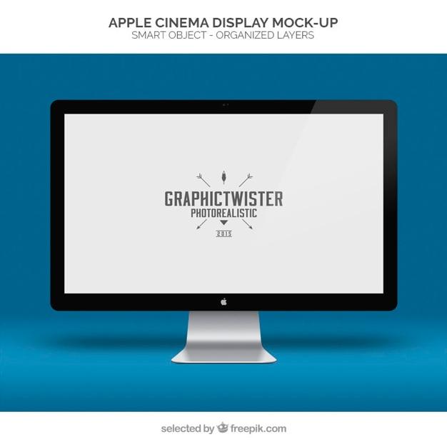 D'apple cinema display maquette Psd gratuit