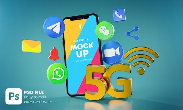 Applications De Communication De Messagerie Les Plus Populaires Avec Maquette De Téléphones PSD Premium