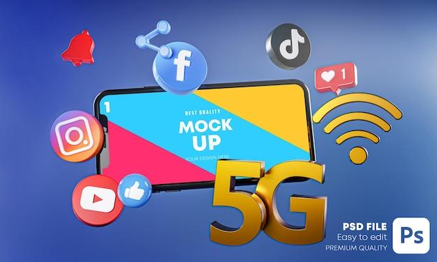 Applications De Médias Sociaux Les Plus Populaires Avec Maquette De Téléphones PSD Premium