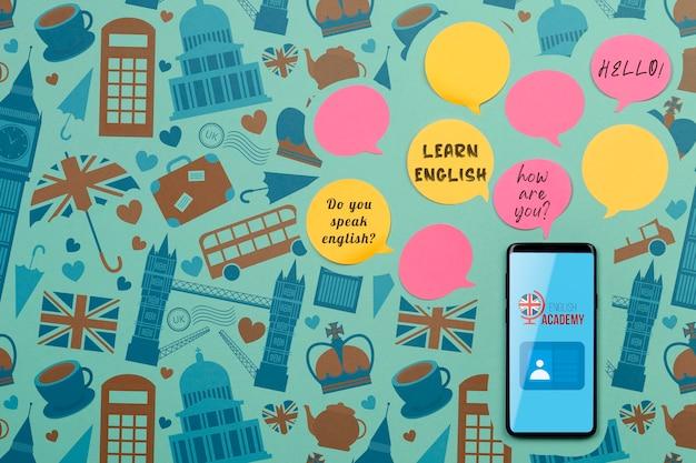 Apprendre Les Notes Collantes De La Bulle De Dialogue En Anglais Psd gratuit