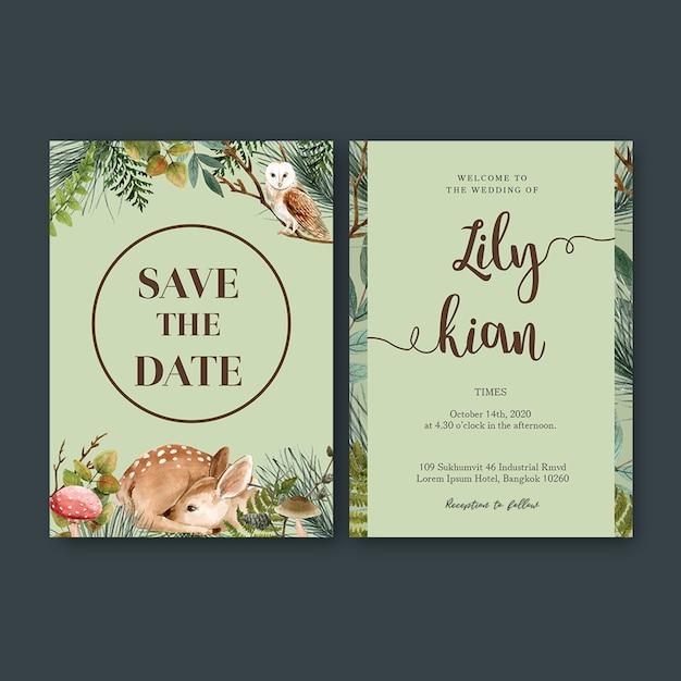 Aquarelle de mariage avec thème forêt Psd gratuit