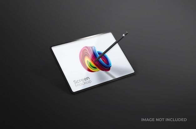 Argile D'écran De Tablette Numérique Noire Avec Maquette De Stylo Isolé PSD Premium