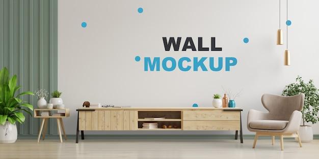 Armoire Tv Dans Salon Moderne, Intérieur D'un Salon Lumineux Avec Fauteuil Sur Mur Blanc Vide. Rendu 3d PSD Premium