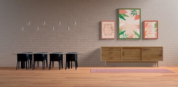 Arrangement De Cadres De Peinture Avec Espace Vide Psd gratuit