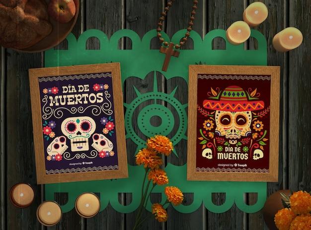Arrangement De Dia De Muertos Crâne Mexicain Maquettes Et Bougies Psd gratuit