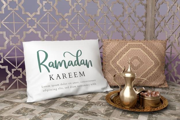 Arrangement De Fête Islamique Avec Théière Et Dates Psd gratuit