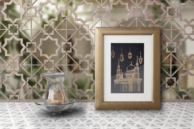 Arrangement Avec Image De Mosquée Dans Un Cadre Psd gratuit