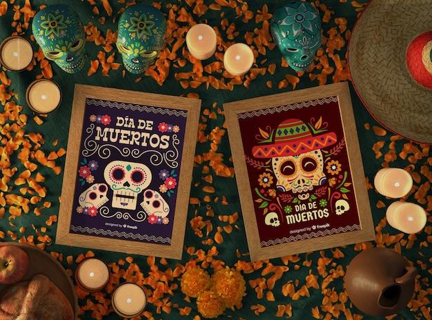 Arrangement De Maquettes De Crâne Mexicain Dia De Muertos Psd gratuit