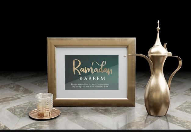 Arrangement De Nouvel An Islamique Avec Théière En Or Sur Table De Marbre Psd gratuit