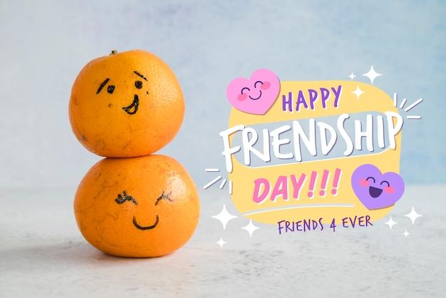 Arrangement Pour La Journée De L'amitié Avec Des Oranges Psd gratuit
