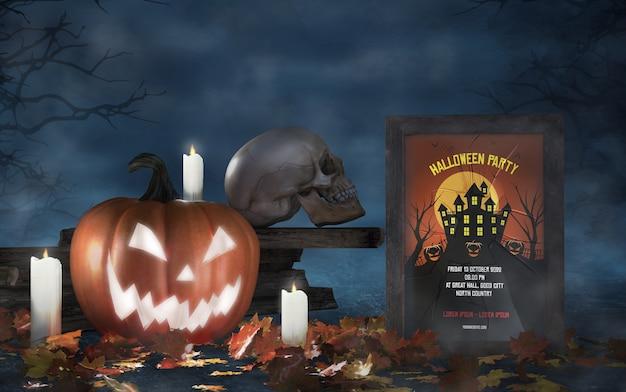 Arrangement de la saison d'halloween avec une maquette d'affiche de film de crâne et d'horreur Psd gratuit