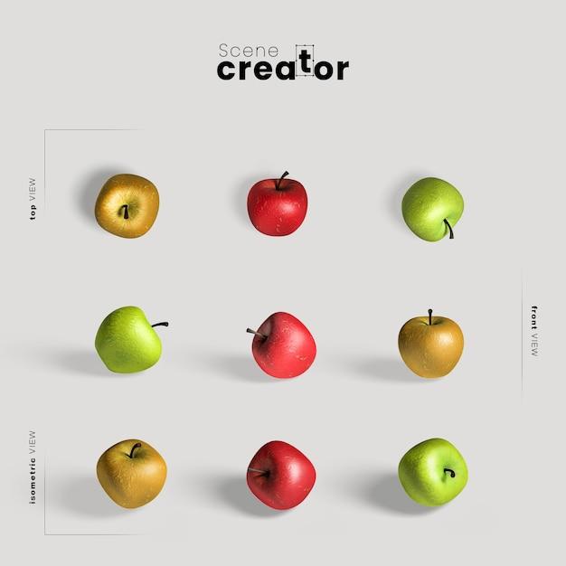 Arrangement de thanksgiving avec des pommes colorées Psd gratuit