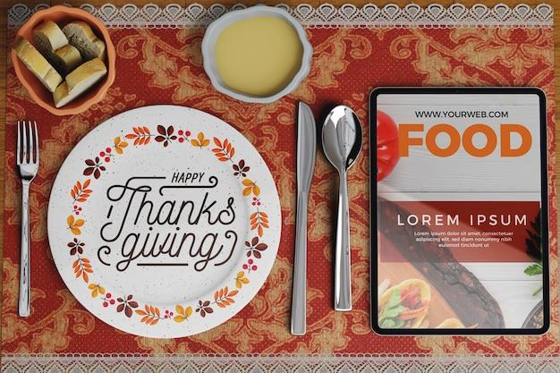Arrangements de restaurant le jour de thanksgiving Psd gratuit