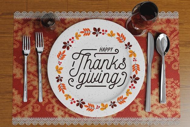 Arrangements de restaurant pour le jour de thanksgiving Psd gratuit